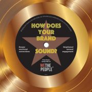 Gold vinyl record with centre graphic spelling out How Does Your Brand Sound?