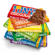 Different coloured Tony's Chocolonely bars stacked